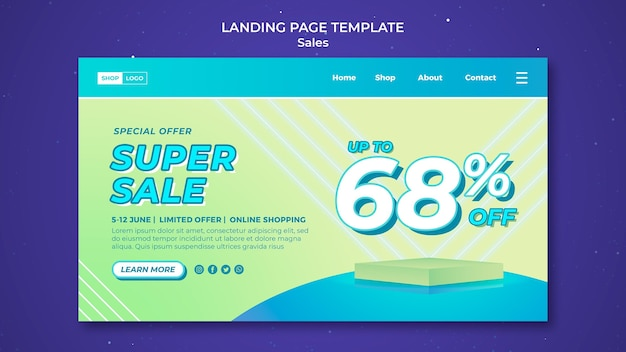 Modèle de page de destination pour super vente