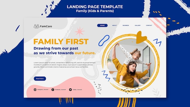 Modèle de page de destination pour le temps en famille