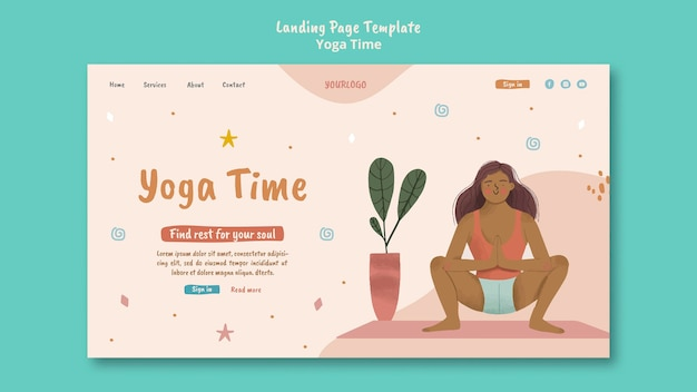 Modèle de page de destination pour le temps de yoga