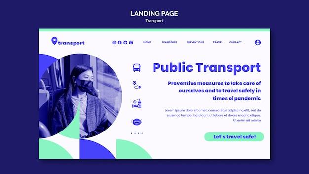Modèle de page de destination pour les transports publics sûrs