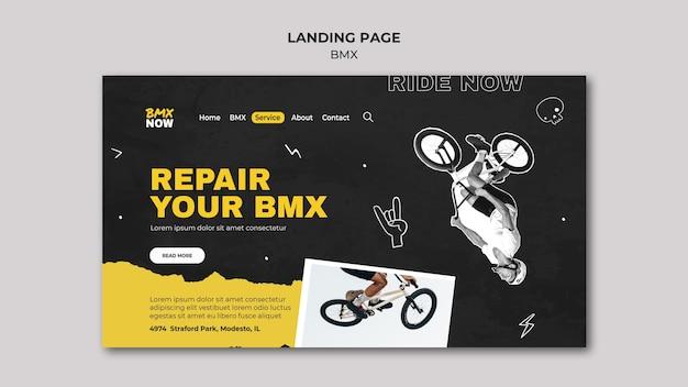 Modèle de page de destination pour le vélo bmx avec homme et vélo