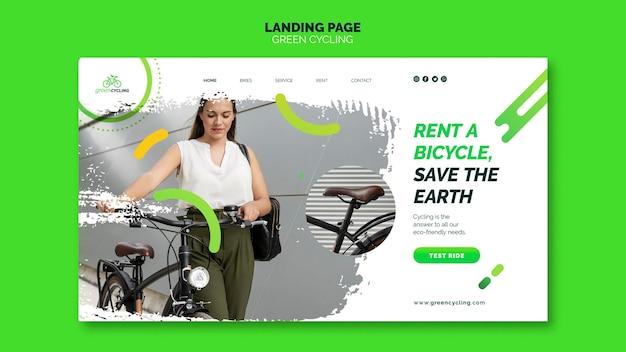Modèle de page de destination pour le vélo vert