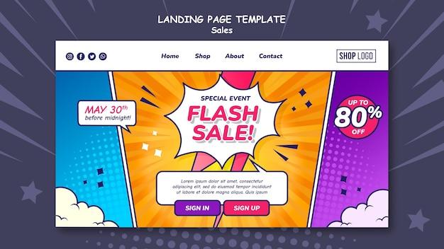 Modèle de page de destination pour les ventes dans un style bande dessinée