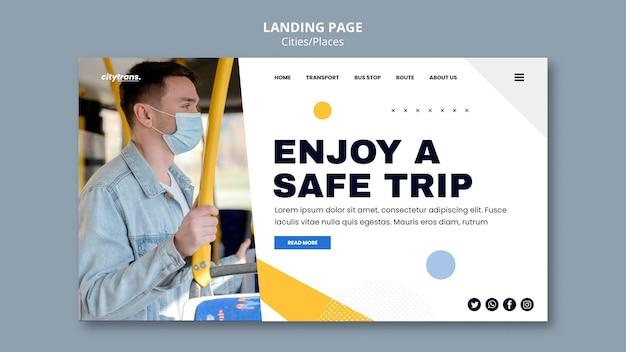 Modèle de page de destination pour un voyage en toute sécurité