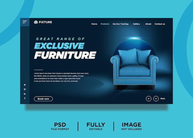 Modèle de page de destination de produit de mobilier exclusif de couleur sarcelle