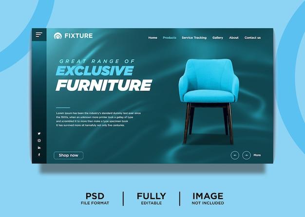 Modèle de page de destination de produit de mobilier exclusif