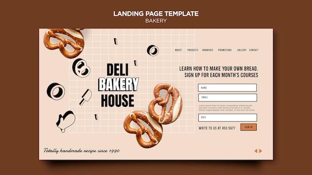 Modèle de page de destination de produits de boulangerie