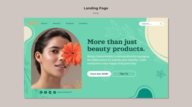 Modèle de page de destination de produits de soins de la peau