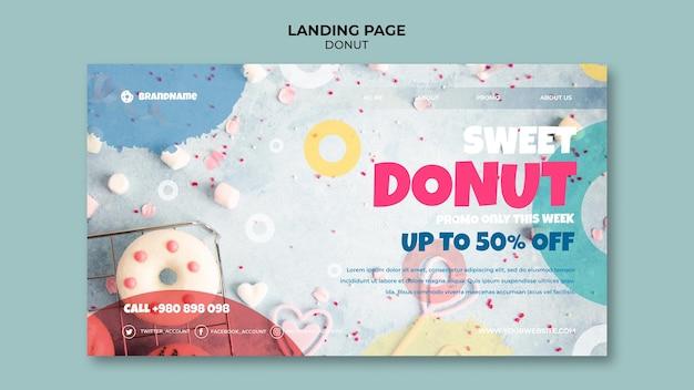 Modèle de page de destination de promotion de beignet