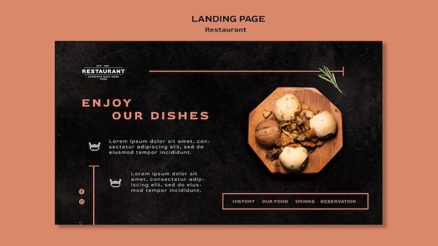 Modèle de page de destination de promotion de restaurant
