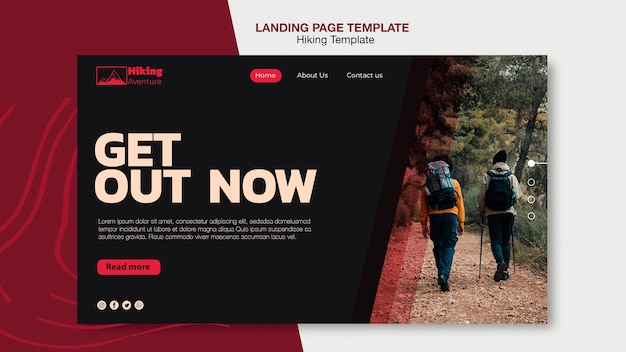 Modèle de page de destination de randonnée