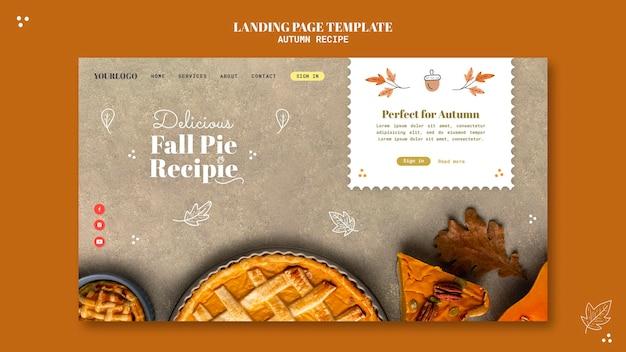 Modèle de page de destination de recette d'automne