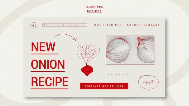 Modèle de page de destination de recettes dessinées à la main