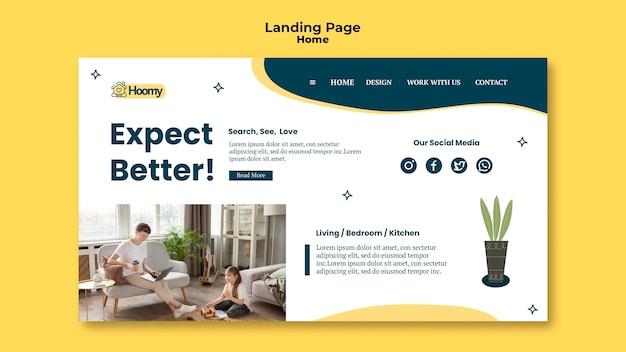Modèle de page de destination de recherche d'accueil