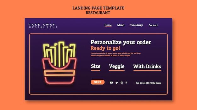 Modèle de page de destination de restaurant abstrait