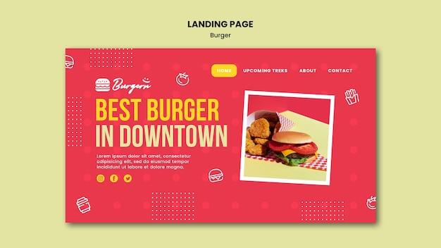 Modèle de page de destination de restaurant burger