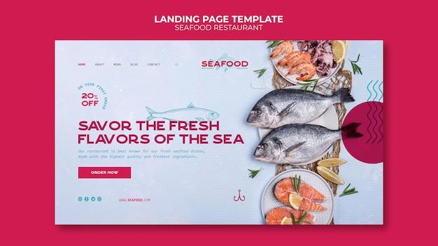Modèle de page de destination de restaurant de fruits de mer