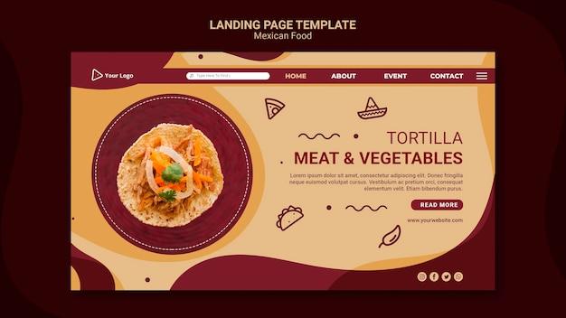 Modèle de page de destination de restaurant mexicain
