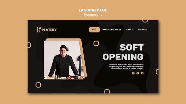 Modèle de page de destination de restaurant à ouverture douce