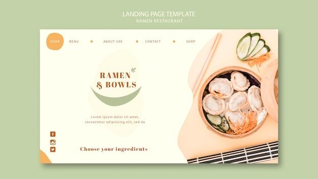 Modèle de page de destination de restaurant ramen