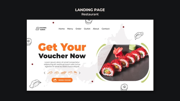 Modèle de page de destination de restaurant de sushi
