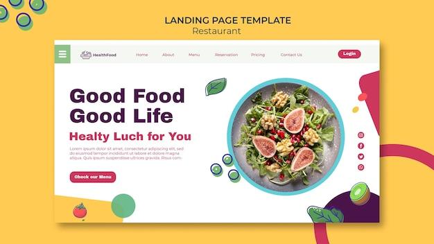 Modèle de page de destination de restaurant