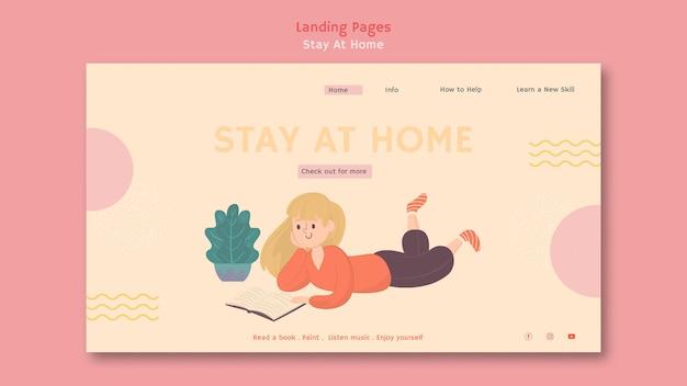 Modèle de page de destination avec rester à la maison pendant la pandémie