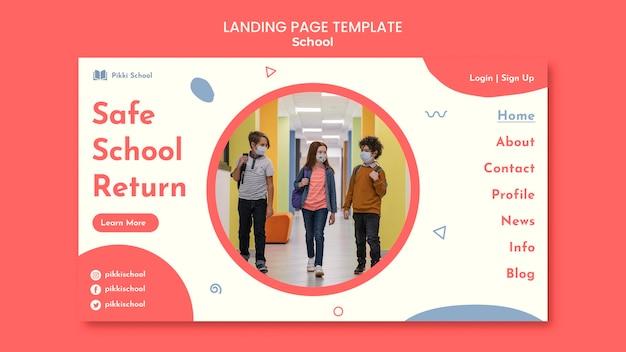 Modèle de page de destination de retour à l'école avec photo