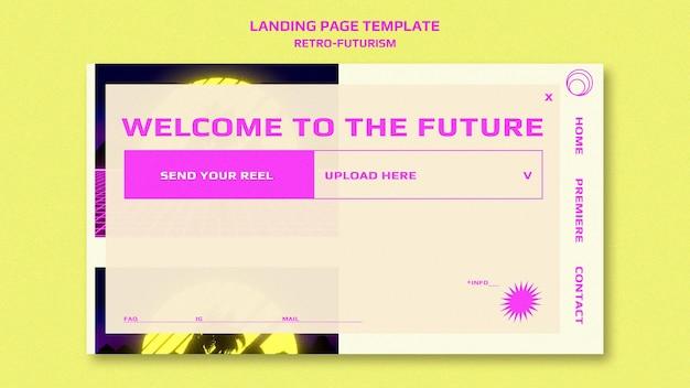Modèle De Page De Destination Rétro-futurisme PSD Premium
