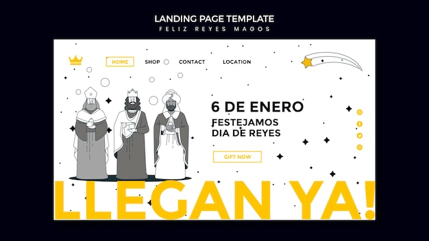 Modèle de page de destination reyes magos
