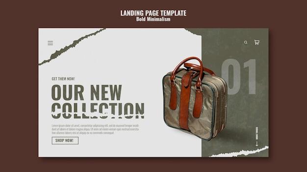 Modèle de page de destination de sac de voyage