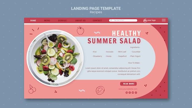 Modèle de page de destination de salade d'été saine