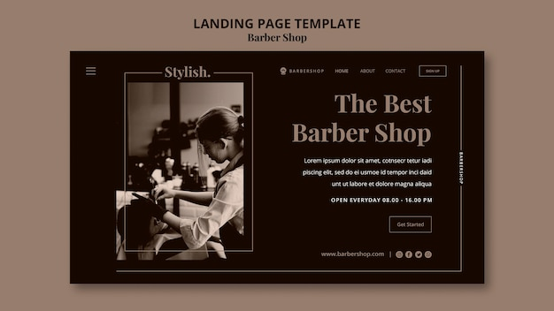 Modèle de page de destination de salon de coiffure