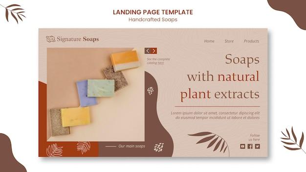 Modèle de page de destination de savon fait maison