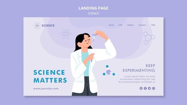 Modèle de page de destination la science compte