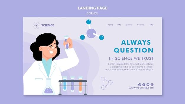 Modèle de page de destination de la science des questions