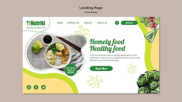 Modèle De Page De Destination De La Sécurité Alimentaire Psd gratuit
