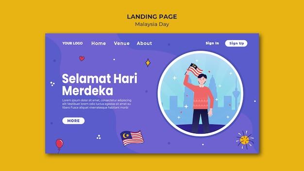 Modèle de page de destination selamat hari merdeka malaisie