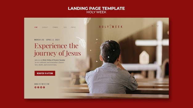 Modèle de page de destination de la semaine sainte avec photo