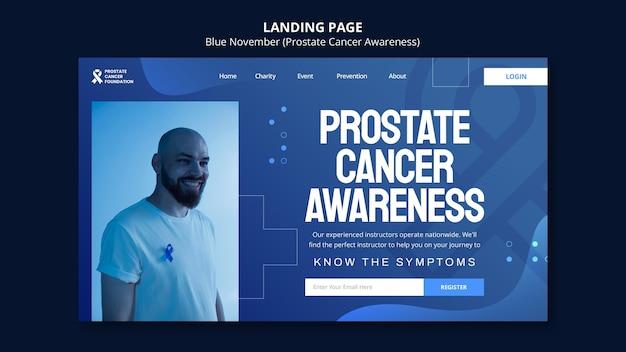 Modèle de page de destination de sensibilisation au cancer de la prostate dans les tons bleus