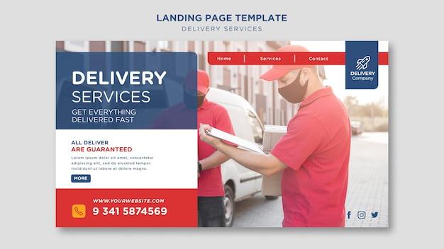 Modèle de page de destination des services de livraison