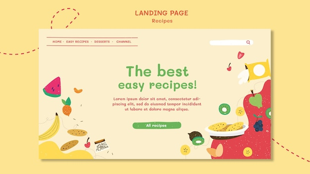 Modèle de page de destination de site web de recettes