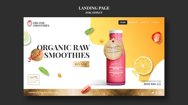 Modèle de page de destination de smoothies biologiques
