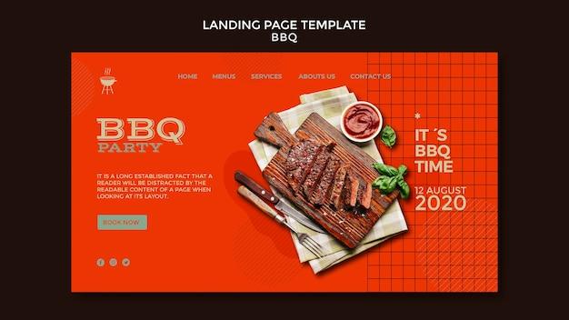 Modèle de page de destination de soirée barbecue