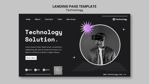 Modèle de page de destination de solution technologique