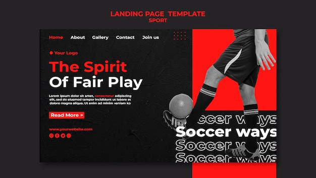 Modèle de page de destination spirit of fair play