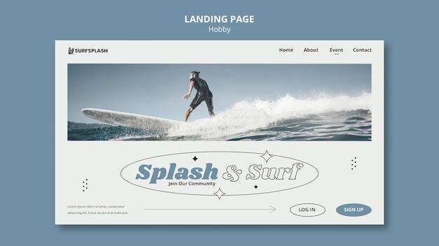 Modèle de page de destination splash et surf