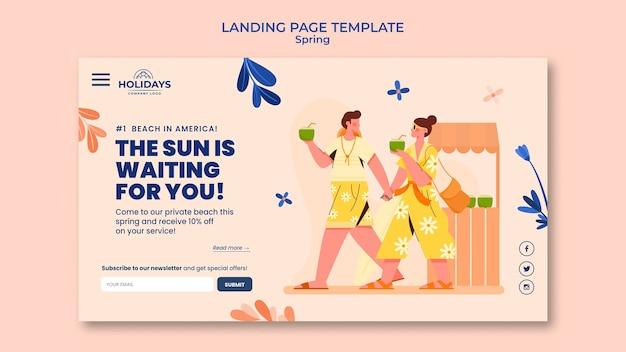Modèle de page de destination de station balnéaire d'été