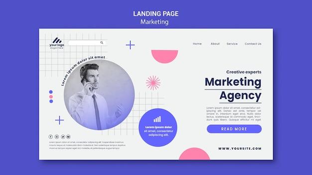 Modèle de page de destination de stratégie marketing