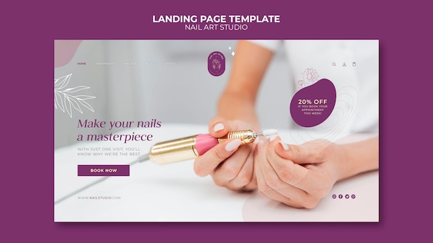 Modèle de page de destination de studio d'art d'ongle